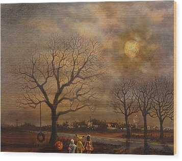 Trick-or-treat Wood Print by Tom Shropshire