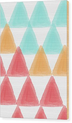 Trifold- Colorful Abstract Pattern Painting Wood Print by Linda Woods