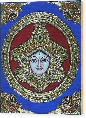 trinetra Durgaji Wood Print by Vimala Jajoo