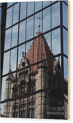 Trinity Chruch Reflected Wood Print by Kenny Glotfelty