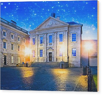 Trinity College Dining Hall At Night Wood Print by Mark E Tisdale