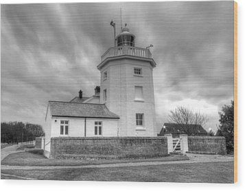 Trinity House Lighthouse Bw Wood Print by David French