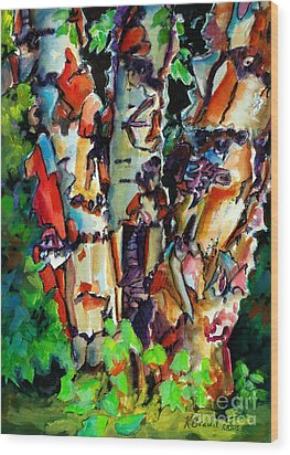 Wood Print featuring the painting Trio Birch 2014 by Kathy Braud