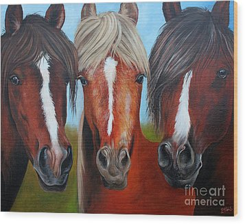 Wood Print featuring the painting Trio by Debbie Hart