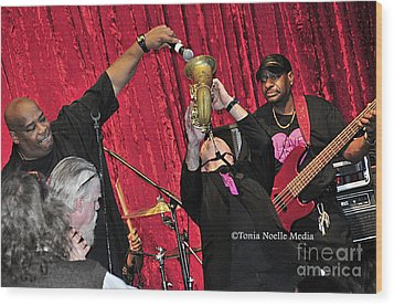 Trio Throwdown With Andy Stokes And Patrick Lamb And Randy Monroe Wood Print by Tonia Noelle
