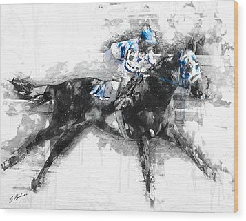 Secretariat Triple Crown 73 Wood Print by Gary Bodnar