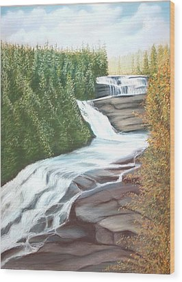Triple Falls Wood Print by Stacy C Bottoms