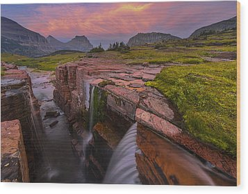 Triple Falls Sunset Wood Print