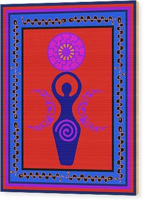 Wood Print featuring the digital art Triple Goddess by Vagabond Folk Art - Virginia Vivier