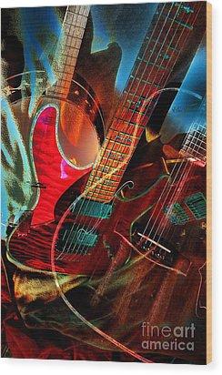Triple Header Digital Banjo And Guitar Art By Steven Langston Wood Print by Steven Lebron Langston