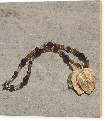 Triple Leaf Costume Brooch Pendant Necklace 3637 Wood Print by Teresa Mucha