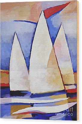 Triple Sails Wood Print by Lutz Baar