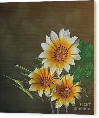 Wood Print featuring the digital art Triple Sunshine by Shirley Mangini