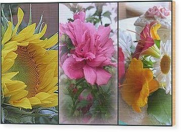 Triptych Of Summer Florals Wood Print by Kay Novy