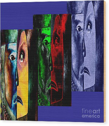 Triptychon Paerchen II - Triptych Couple II Wood Print