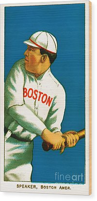 Tris Speaker Boston Red Sox Baseball Card 0520 Wood Print by Wingsdomain Art and Photography