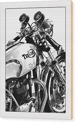 Triton Motorcycle Wood Print by Tim Gainey