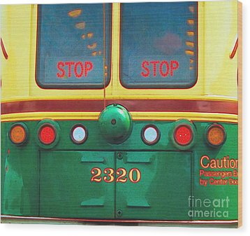 Trolley Car - Digital Art Wood Print by Robyn King