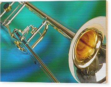 Trombone Against Green And Blue In Color 3204.02 Wood Print