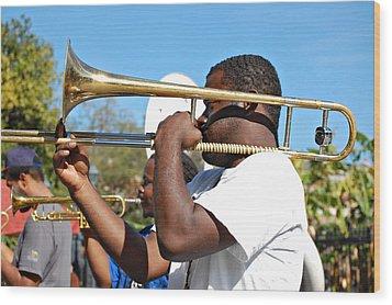 Trombone Man Wood Print by Steve Harrington