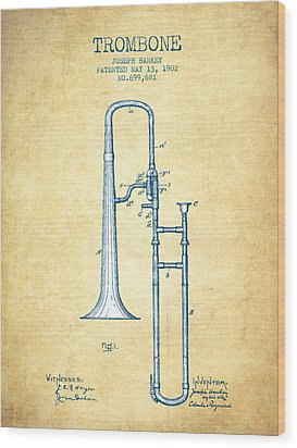 Trombone Patent From 1902 - Vintage Paper Wood Print by Aged Pixel