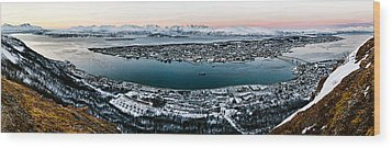Tromso From The Mountains Wood Print by Dave Bowman