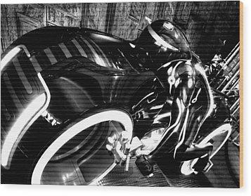 Tron Motor Cycle Wood Print by Michael Hope