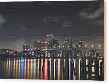 Trooper Bridge Miami Wood Print by Gary Dean Mercer Clark