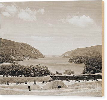 Trophy Point North Fro West Point In Sepia Tone Wood Print