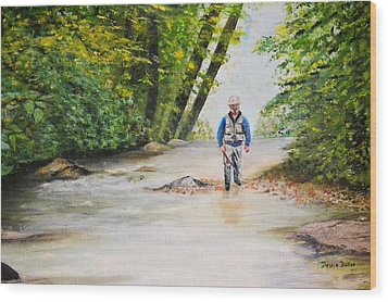 Wood Print featuring the painting Trophy Stream by Debbie Baker