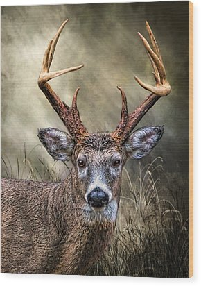 Wood Print featuring the digital art Trophy 10 Point Buck by Mary Almond