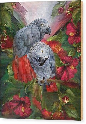 Tropic Spirits - African Greys Wood Print