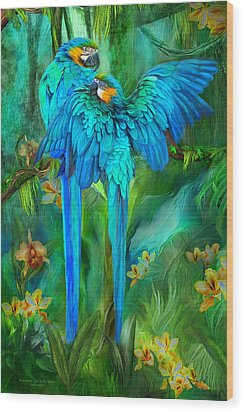 Tropic Spirits - Gold And Blue Macaws Wood Print