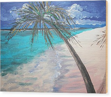 Wood Print featuring the painting Tropical Beach by Judy Via-Wolff