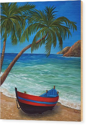 Tropical Beach Wood Print by Katia Aho