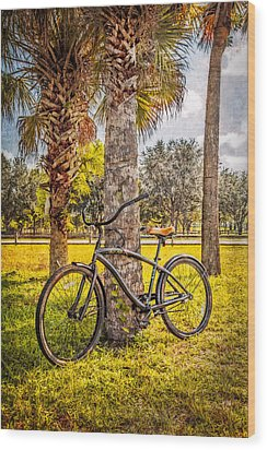 Tropical Bicycle Wood Print by Debra and Dave Vanderlaan