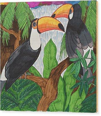 Toucans Wood Print by Ethan Altshuler