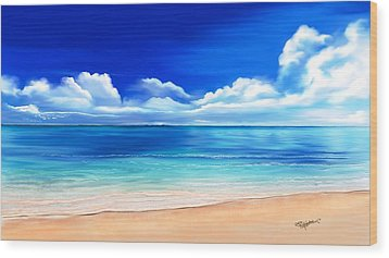 Wood Print featuring the drawing Tropical Blue by Anthony Fishburne