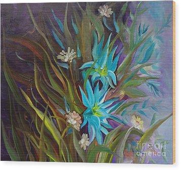 Tropical Blue Wood Print by Jenny Lee