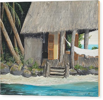 Wood Print featuring the painting Tropical Breeze by Alan Lakin