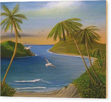 Wood Print featuring the painting Tropical Escape by Sheri Keith