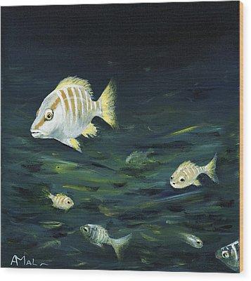 Tropical Fish Wood Print by Anastasiya Malakhova