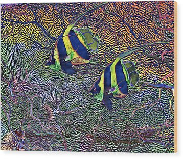 Wood Print featuring the painting Coral Reef Tropical Fish Colorful Water Art by David Mckinney