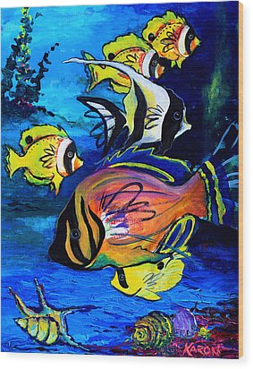 Tropical Fish Wood Print by Karon Melillo DeVega