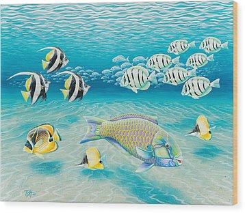 Tropical Fish Wood Print by Tish Wynne