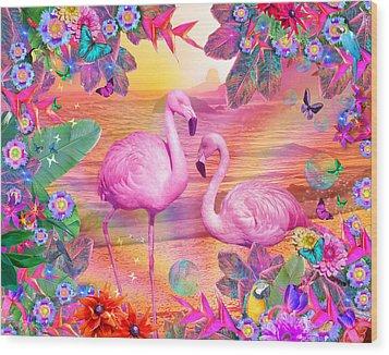 Tropical Flamingo Wood Print by Alixandra Mullins