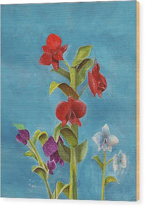 Wood Print featuring the painting Tropical Flower by Thomas J Herring