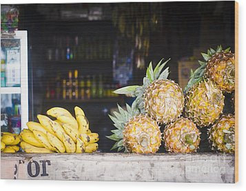 Tropical Fruits Wood Print by Tuimages