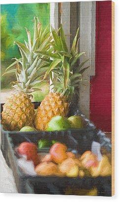 Tropical Fruitstand Wood Print