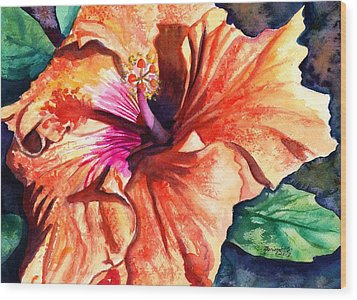 Tropical Hibiscus Wood Print by Marionette Taboniar